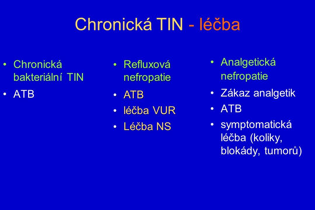 Chronická TIN - léčba Chronická bakteriální TIN ATB Analgetická nefropatie Zákaz analgetik ATB symptomatická léčba (koliky, blokády, tumorů) Refluxová nefropatie Refluxová nefropatie ATB ATB léčba VUR léčba VUR Léčba NS Léčba NS