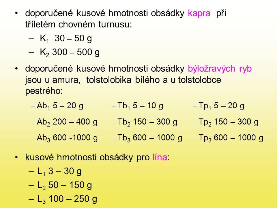 doporučené kusové hmotnosti obsádky kapra při tříletém chovném turnusu: – K 1 30 – 50 g – K 2 300 – 500 g doporučené kusové hmotnosti obsádky býložravých ryb jsou u amura, tolstolobika bílého a u tolstolobce pestrého: kusové hmotnosti obsádky pro lína: –L 1 3 – 30 g –L 2 50 – 150 g –L 3 100 – 250 g – Ab 1 5 – 20 g – Tb 1 5 – 10 g – Tp 1 5 – 20 g – Ab 2 200 – 400 g – Tb 2 150 – 300 g – Tp 2 150 – 300 g – Ab 3 600 -1000 g – Tb 3 600 – 1000 g – Tp 3 600 – 1000 g