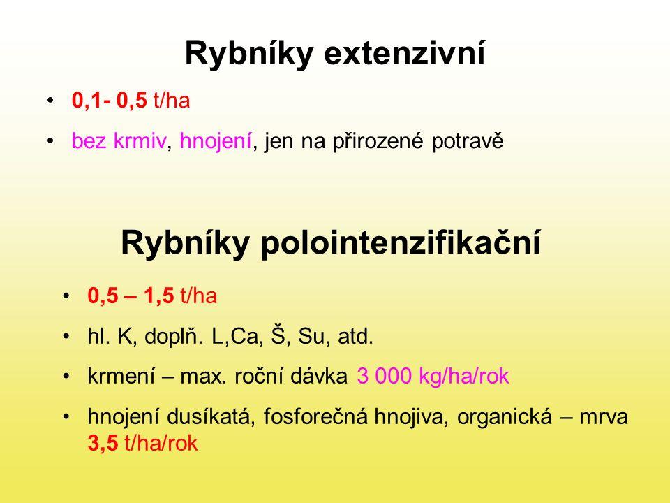 Rybníky intenzifikační 3 t/ha hl.K, doplň. L,Ca, Š, Su, atd.