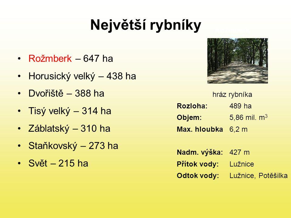 Největší rybníky Rožmberk – 647 ha Horusický velký – 438 ha Dvořiště – 388 ha Tisý velký – 314 ha Záblatský – 310 ha Staňkovský – 273 ha Svět – 215 ha Rožmberk hráz rybníka Rozloha:489 ha Objem:5,86 mil.