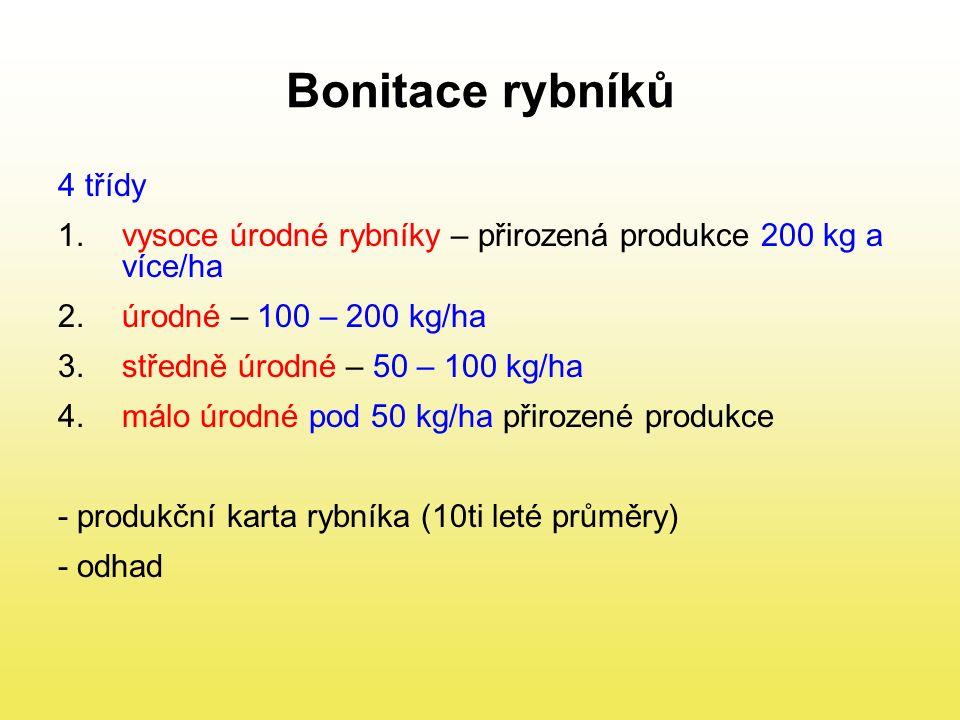 Bonitace rybníků 4 třídy 1.vysoce úrodné rybníky – přirozená produkce 200 kg a více/ha 2.úrodné – 100 – 200 kg/ha 3.středně úrodné – 50 – 100 kg/ha 4.málo úrodné pod 50 kg/ha přirozené produkce - produkční karta rybníka (10ti leté průměry) - odhad