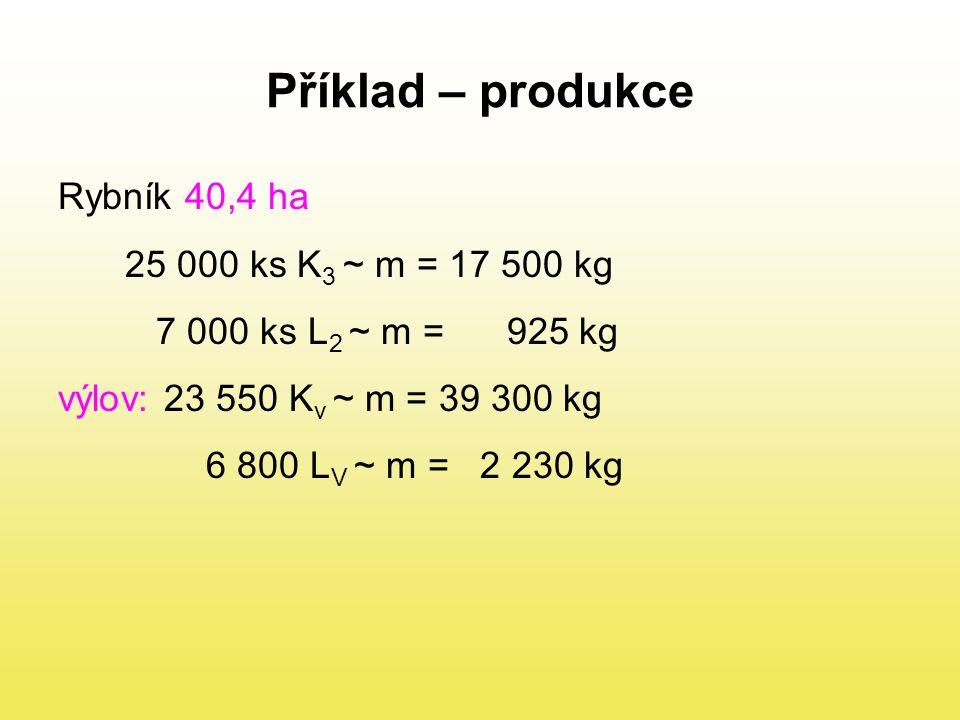 1.Zjistit celkový přírůstek u K a L 2.Zjistit celkový přírůstek na 1 ha 3.Zjistit kusový přírůstek (hmotnostní) Ad 1.) K: 39 300-17 500=21 800 kg L: celková produkce rybníka 21 800 + 1 305 = 23 105 kg