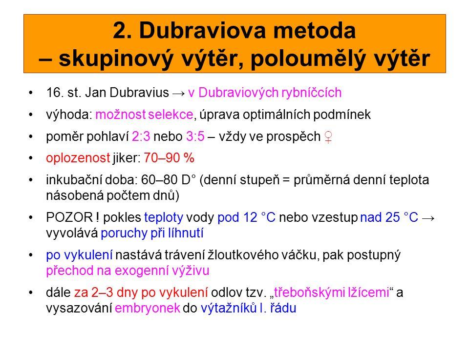 2. Dubraviova metoda – skupinový výtěr, poloumělý výtěr 16. st. Jan Dubravius → v Dubraviových rybníčcích výhoda: možnost selekce, úprava optimálních