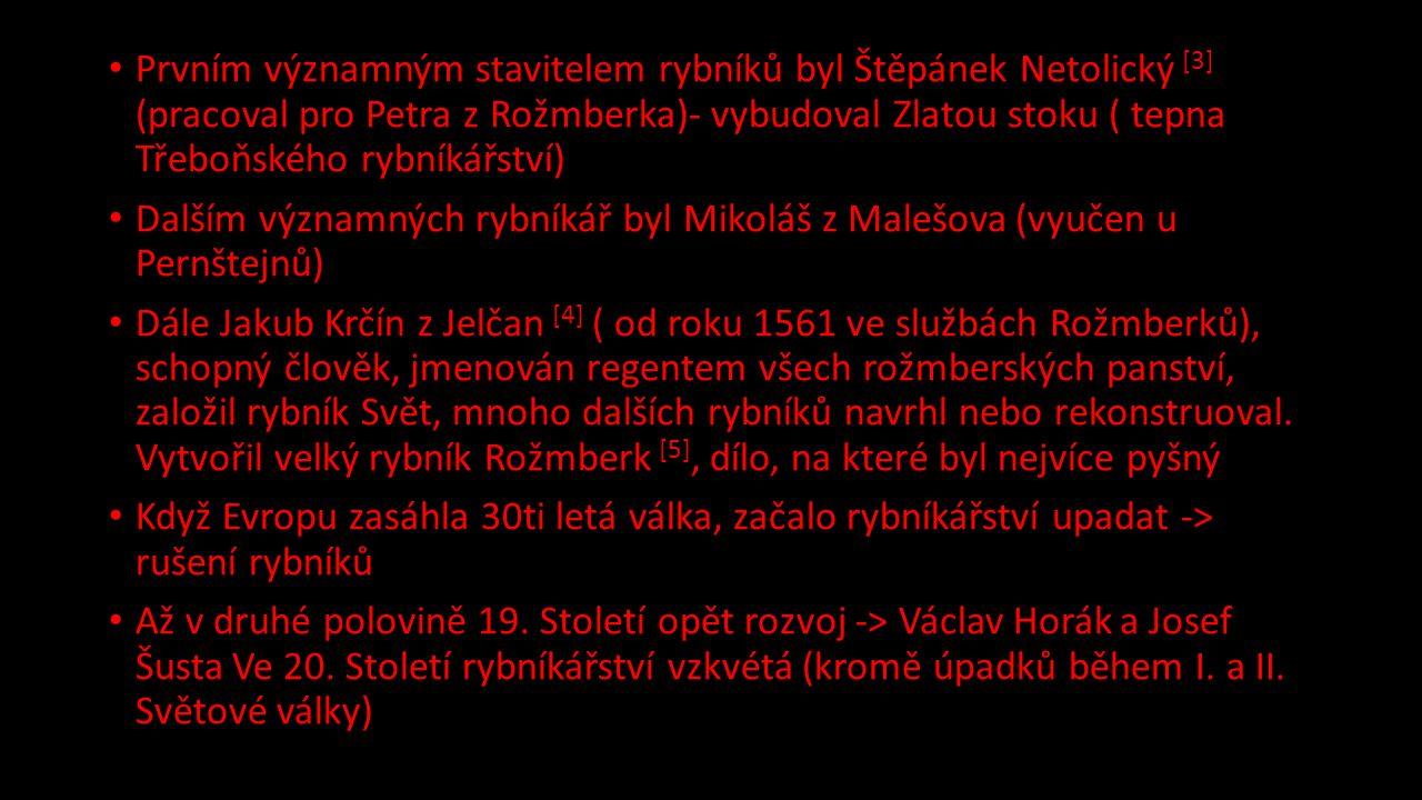 Prvním významným stavitelem rybníků byl Štěpánek Netolický [3] (pracoval pro Petra z Rožmberka)- vybudoval Zlatou stoku ( tepna Třeboňského rybníkářství) Dalším významných rybníkář byl Mikoláš z Malešova (vyučen u Pernštejnů) Dále Jakub Krčín z Jelčan [4] ( od roku 1561 ve službách Rožmberků), schopný člověk, jmenován regentem všech rožmberských panství, založil rybník Svět, mnoho dalších rybníků navrhl nebo rekonstruoval.
