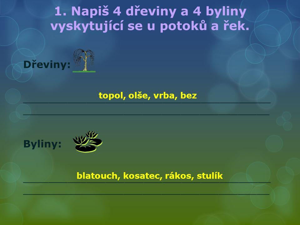 1. Napiš 4 dřeviny a 4 byliny vyskytující se u potoků a řek.