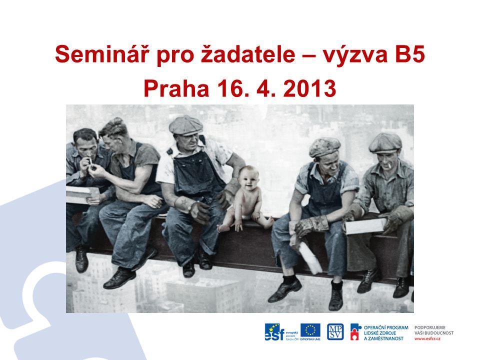 Seminář pro žadatele – výzva B5 Praha 16. 4. 2013
