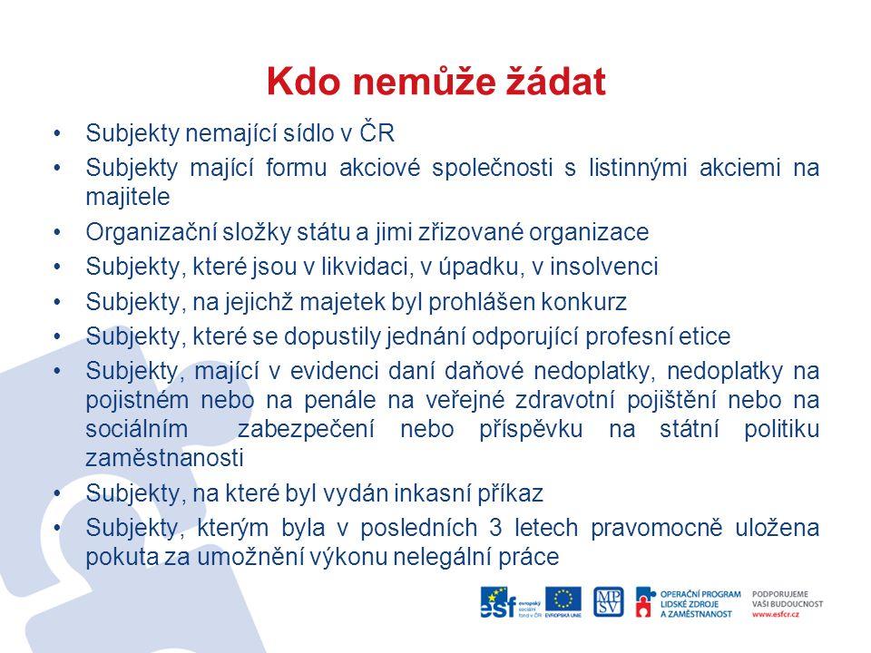 Kdo nemůže žádat Subjekty nemající sídlo v ČR Subjekty mající formu akciové společnosti s listinnými akciemi na majitele Organizační složky státu a ji
