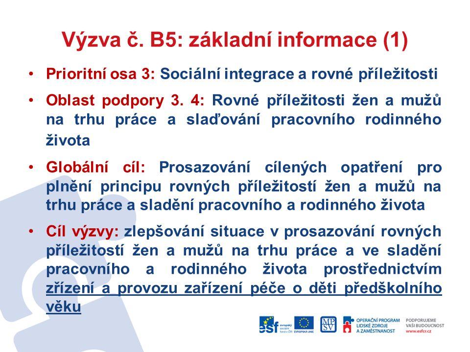 Výzva č. B5: základní informace (1) Prioritní osa 3: Sociální integrace a rovné příležitosti Oblast podpory 3. 4: Rovné příležitosti žen a mužů na trh