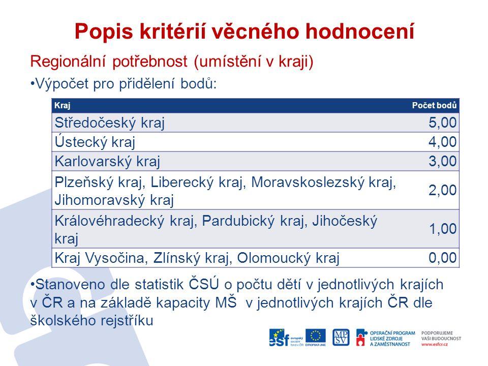 Popis kritérií věcného hodnocení Regionální potřebnost (umístění v kraji) Výpočet pro přidělení bodů: Stanoveno dle statistik ČSÚ o počtu dětí v jedno