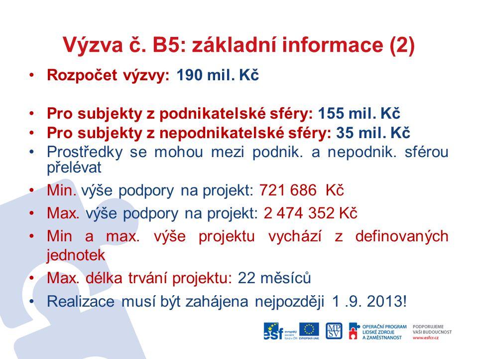 Výzva č. B5: základní informace (2) Rozpočet výzvy: 190 mil. Kč Pro subjekty z podnikatelské sféry: 155 mil. Kč Pro subjekty z nepodnikatelské sféry: