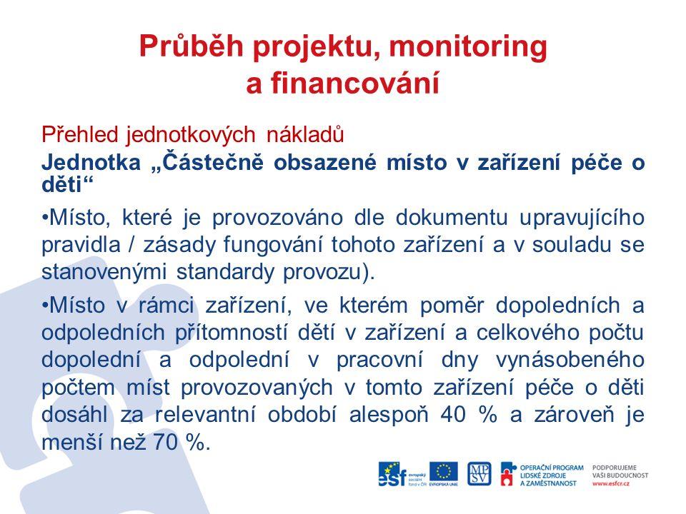 """Průběh projektu, monitoring a financování Přehled jednotkových nákladů Jednotka """"Částečně obsazené místo v zařízení péče o děti"""" Místo, které je provo"""