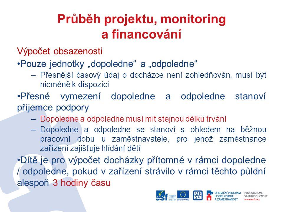 """Průběh projektu, monitoring a financování Výpočet obsazenosti Pouze jednotky """"dopoledne"""" a """"odpoledne"""" –Přesnější časový údaj o docházce není zohledňo"""