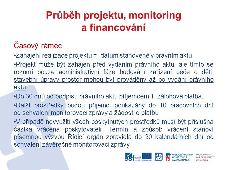 Průběh projektu, monitoring a financování Časový rámec Zahájení realizace projektu = datum stanovené v právním aktu Projekt může být zahájen před vydá