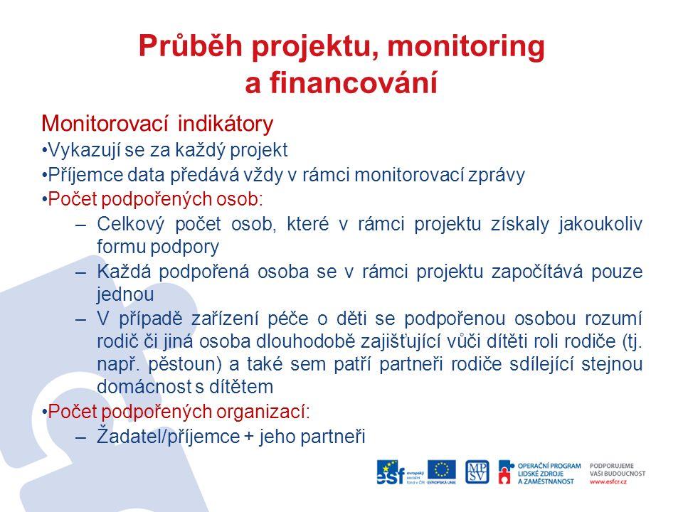 Průběh projektu, monitoring a financování Monitorovací indikátory Vykazují se za každý projekt Příjemce data předává vždy v rámci monitorovací zprávy