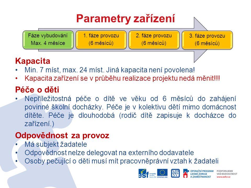 Parametry zařízení Kapacita Min. 7 míst, max. 24 míst. Jiná kapacita není povolena! Kapacita zařízení se v průběhu realizace projektu nedá měnit!!! Pé
