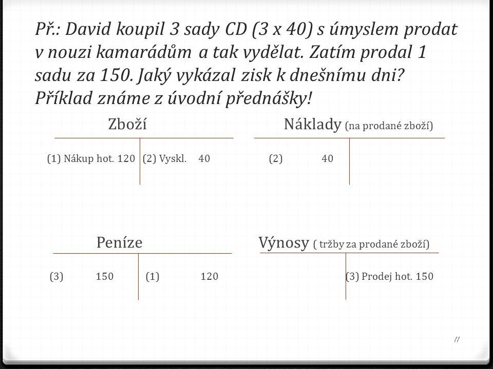 Př.: David koupil 3 sady CD (3 x 40) s úmyslem prodat v nouzi kamarádům a tak vydělat.