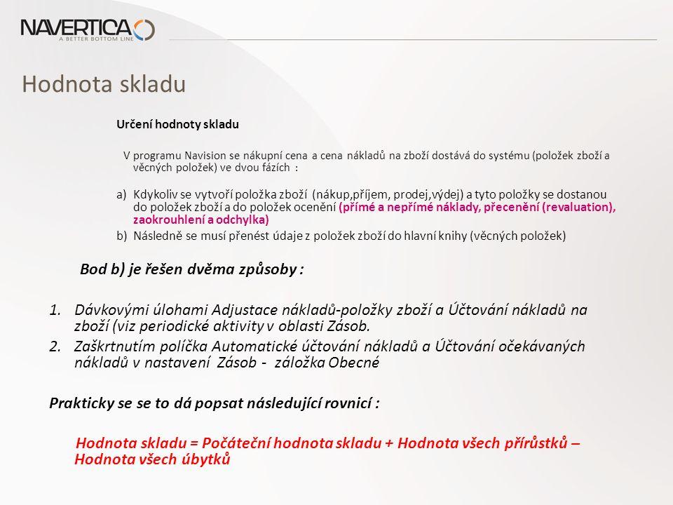Hodnota skladu Určení hodnoty skladu V programu Navision se nákupní cena a cena nákladů na zboží dostává do systému (položek zboží a věcných položek)