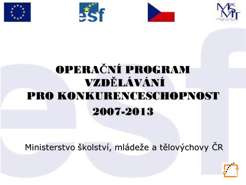OPERA Č NÍ PROGRAM VZD Ě LÁVÁNÍ PRO KONKURENCESCHOPNOST 2007-2013 Ministerstvo školství, mládeže a tělovýchovy ČR