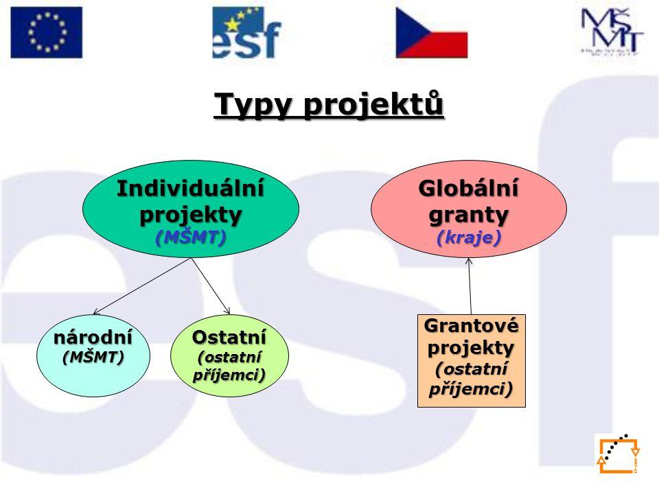 Typy projektů Individuální projekty (MŠMT) národní(MŠMT)Ostatní (ostatní příjemci) Globální granty (kraje) Grantové projekty (ostatní příjemci)