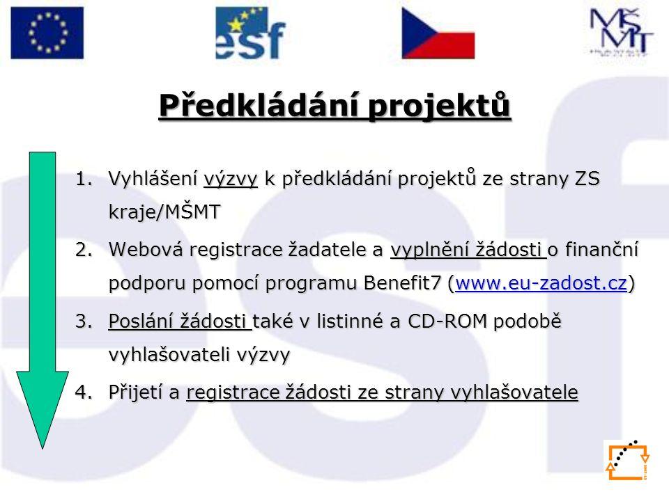 Předkládání projektů 1.Vyhlášení výzvy k předkládání projektů ze strany ZS kraje/MŠMT 2.Webová registrace žadatele a vyplnění žádosti o finanční podporu pomocí programu Benefit7 (www.eu-zadost.cz) www.eu-zadost.cz 3.Poslání žádosti také v listinné a CD-ROM podobě vyhlašovateli výzvy 4.Přijetí a registrace žádosti ze strany vyhlašovatele