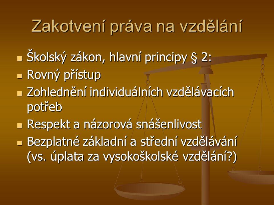 Zakotvení práva na vzdělání Školský zákon, hlavní principy § 2: Školský zákon, hlavní principy § 2: Rovný přístup Rovný přístup Zohlednění individuálních vzdělávacích potřeb Zohlednění individuálních vzdělávacích potřeb Respekt a názorová snášenlivost Respekt a názorová snášenlivost Bezplatné základní a střední vzdělávání (vs.