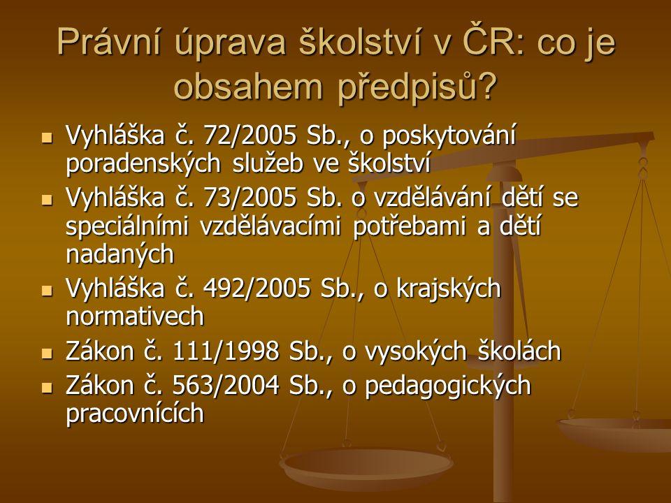 Právní úprava školství v ČR: co je obsahem předpisů.