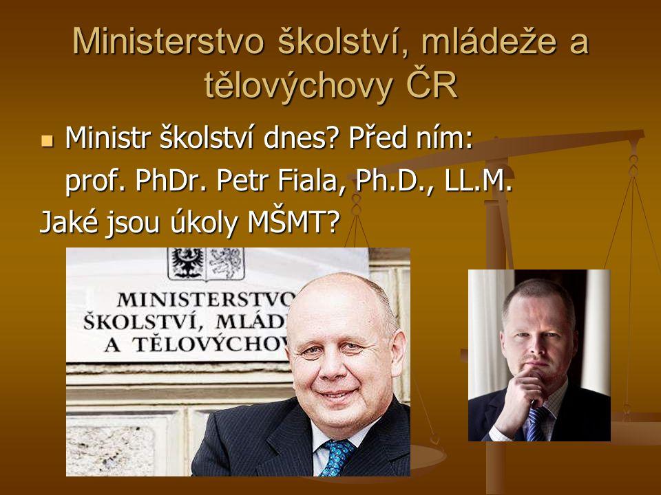 Ministerstvo školství, mládeže a tělovýchovy ČR Ministr školství dnes.