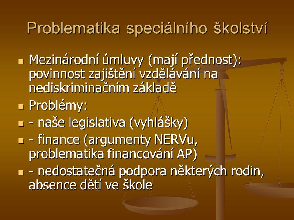 Problematika speciálního školství Mezinárodní úmluvy (mají přednost): povinnost zajištění vzdělávání na nediskriminačním základě Mezinárodní úmluvy (mají přednost): povinnost zajištění vzdělávání na nediskriminačním základě Problémy: Problémy: - naše legislativa (vyhlášky) - naše legislativa (vyhlášky) - finance (argumenty NERVu, problematika financování AP) - finance (argumenty NERVu, problematika financování AP) - nedostatečná podpora některých rodin, absence dětí ve škole - nedostatečná podpora některých rodin, absence dětí ve škole