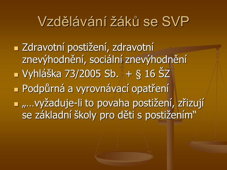 Vzdělávání žáků se SVP Zdravotní postižení, zdravotní znevýhodnění, sociální znevýhodnění Zdravotní postižení, zdravotní znevýhodnění, sociální znevýhodnění Vyhláška 73/2005 Sb.