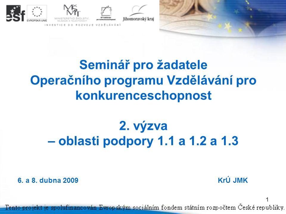 1 Seminář pro žadatele Operačního programu Vzdělávání pro konkurenceschopnost 2.