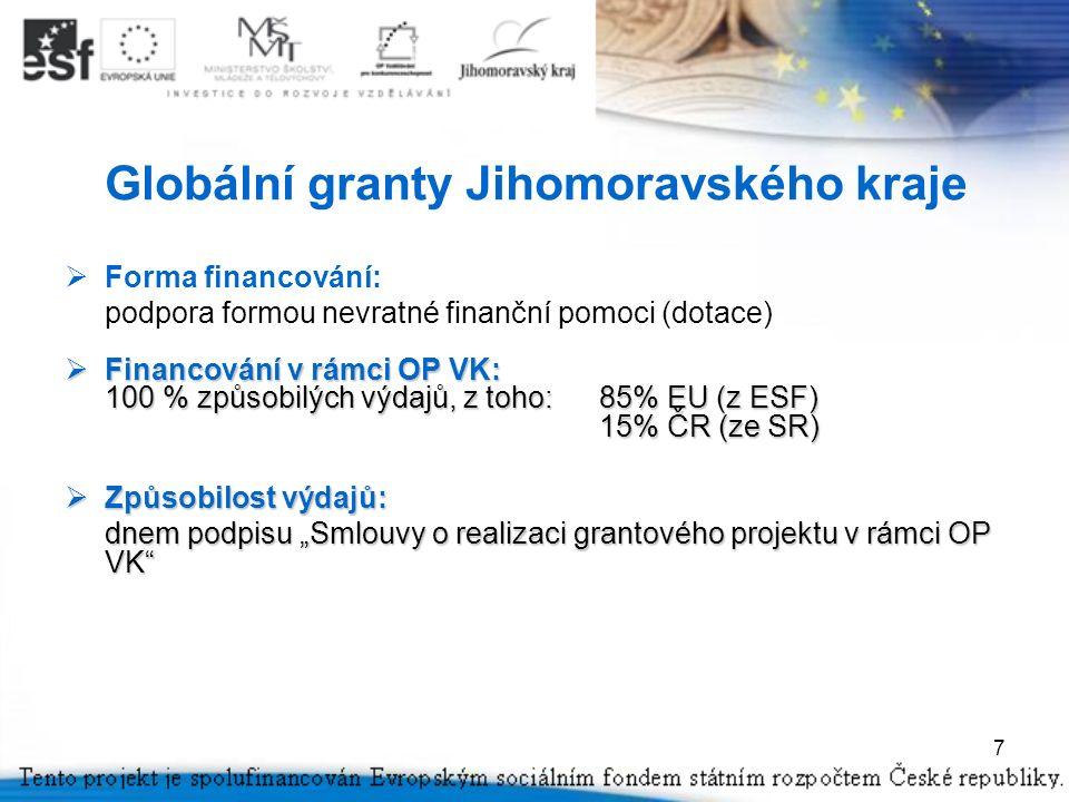 """7 Globální granty Jihomoravského kraje  Forma financování: podpora formou nevratné finanční pomoci (dotace)  Financování v rámci OP VK: 100 % způsobilých výdajů, z toho:85% EU (z ESF) 15% ČR (ze SR)  Způsobilost výdajů: dnem podpisu """"Smlouvy o realizaci grantového projektu v rámci OP VK"""