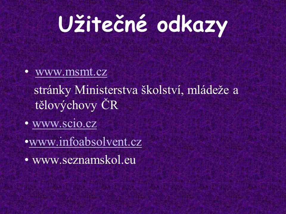 Užitečné odkazy www.msmt.cz stránky Ministerstva školství, mládeže a tělovýchovy ČR www.scio.cz www.infoabsolvent.cz www.seznamskol.eu