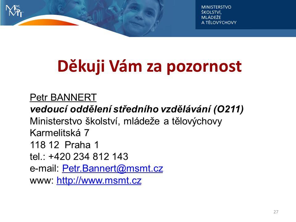 Děkuji Vám za pozornost 27 Petr BANNERT vedoucí oddělení středního vzdělávání (O211) Ministerstvo školství, mládeže a tělovýchovy Karmelitská 7 118 12 Praha 1 tel.: +420 234 812 143 e-mail: Petr.Bannert@msmt.czPetr.Bannert@msmt.cz www: http://www.msmt.czhttp://www.msmt.cz