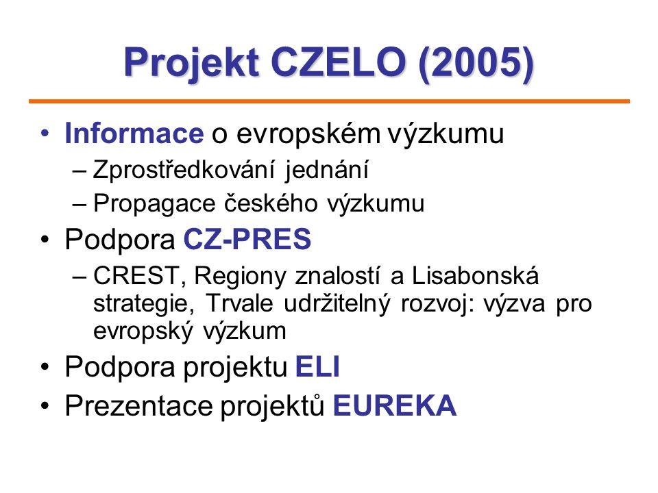 Projekt CZELO (2005) Informace o evropském výzkumu –Zprostředkování jednání –Propagace českého výzkumu Podpora CZ-PRES –CREST, Regiony znalostí a Lisa
