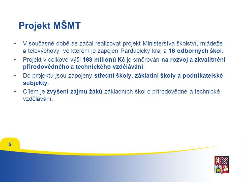 5 Projekt MŠMT V současné době se začal realizovat projekt Ministerstva školství, mládeže a tělovýchovy, ve kterém je zapojen Pardubický kraj a 16 odborných škol.