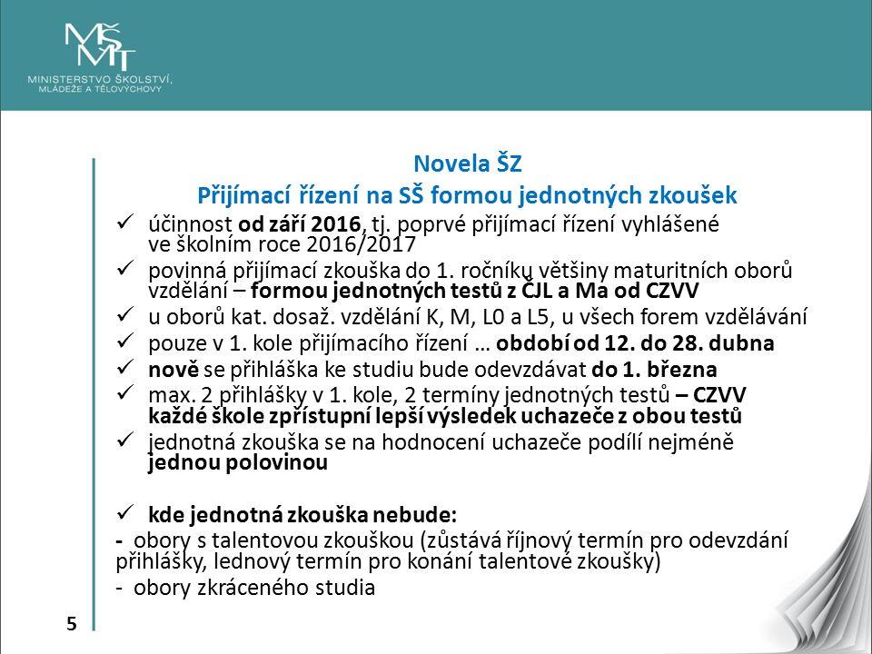 5 Novela ŠZ Přijímací řízení na SŠ formou jednotných zkoušek účinnost od září 2016, tj. poprvé přijímací řízení vyhlášené ve školním roce 2016/2017 po