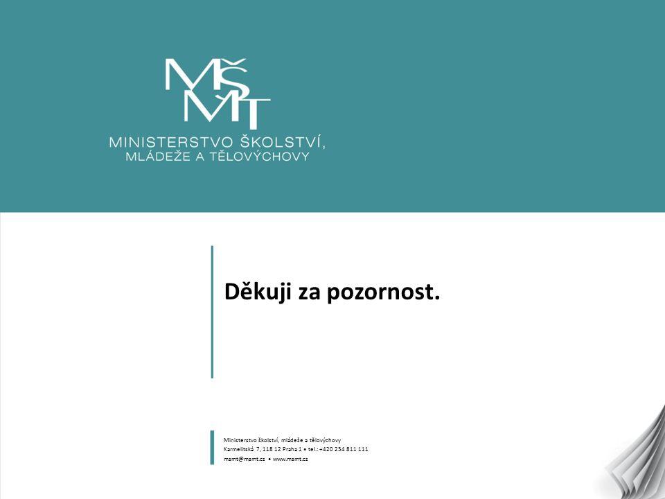 8 Děkuji za pozornost. Ministerstvo školství, mládeže a tělovýchovy Karmelitská 7, 118 12 Praha 1 tel.: +420 234 811 111 msmt@msmt.cz www.msmt.cz