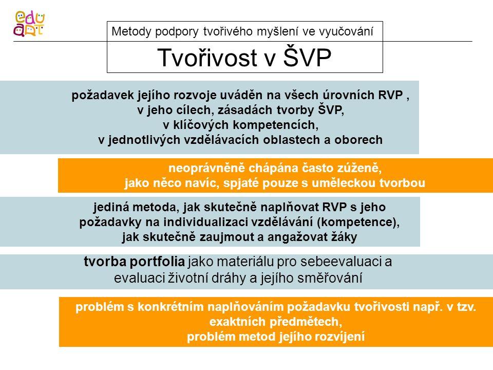 Tvořivost v ŠVP Metody podpory tvořivého myšlení ve vyučování požadavek jejího rozvoje uváděn na všech úrovních RVP, v jeho cílech, zásadách tvorby ŠV