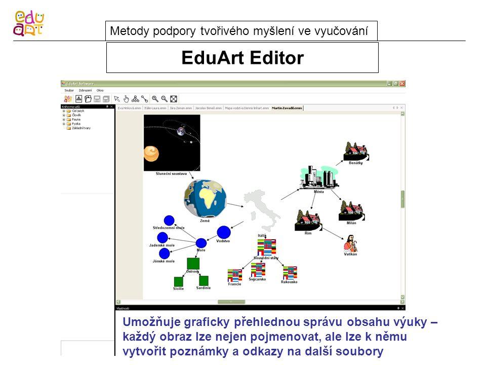 EduArt Editor Metody podpory tvořivého myšlení ve vyučování Umožňuje graficky přehlednou správu obsahu výuky – každý obraz lze nejen pojmenovat, ale lze k němu vytvořit poznámky a odkazy na další soubory
