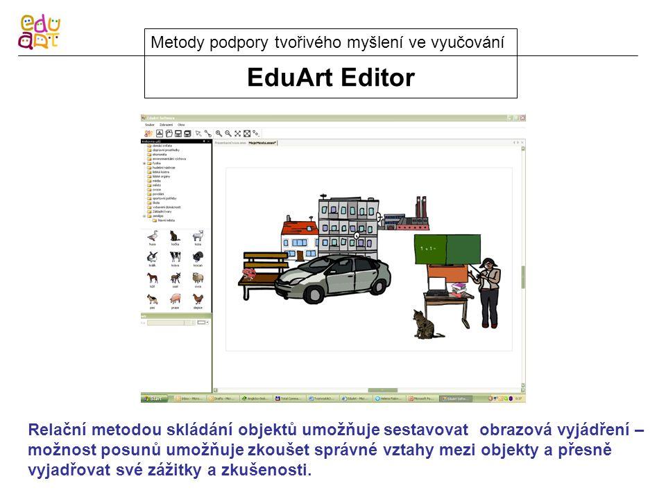 EduArt Editor Metody podpory tvořivého myšlení ve vyučování Relační metodou skládání objektů umožňuje sestavovat obrazová vyjádření – možnost posunů umožňuje zkoušet správné vztahy mezi objekty a přesně vyjadřovat své zážitky a zkušenosti.