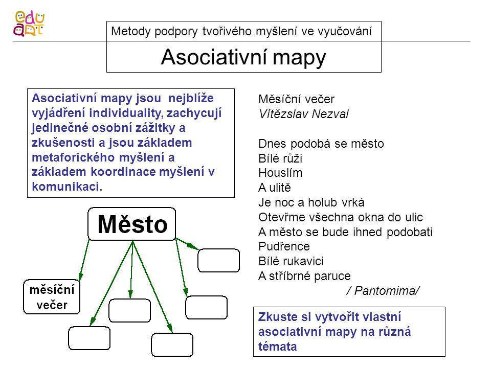 Asociativní mapy Metody podpory tvořivého myšlení ve vyučování Asociativní mapy jsou nejblíže vyjádření individuality, zachycují jedinečné osobní zážitky a zkušenosti a jsou základem metaforického myšlení a základem koordinace myšlení v komunikaci.