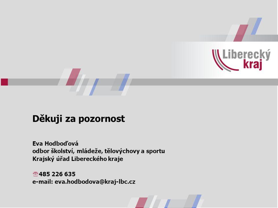 Děkuji za pozornost Eva Hodboďová odbor školství, mládeže, tělovýchovy a sportu Krajský úřad Libereckého kraje  485 226 635 e-mail: eva.hodbodova@kraj-lbc.cz
