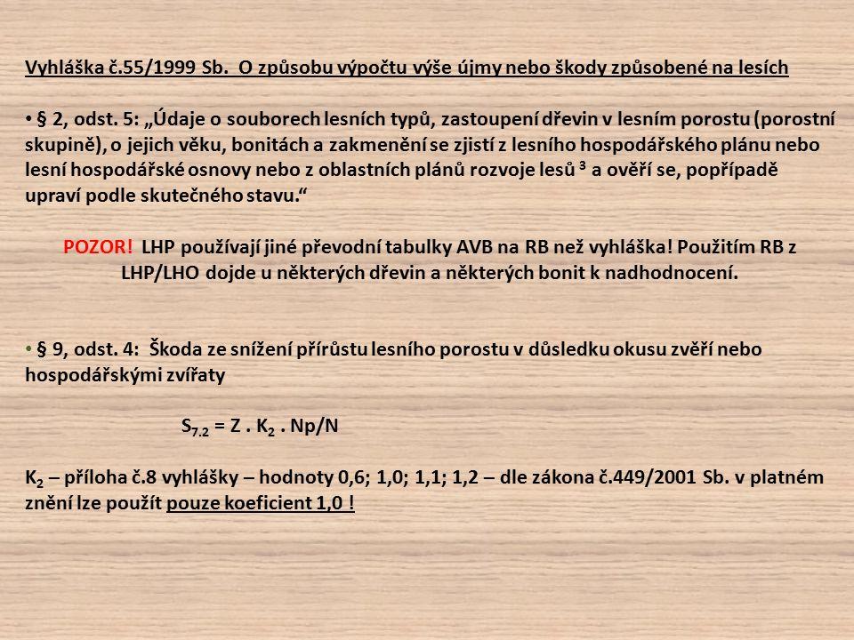 Vyhláška č.55/1999 Sb. O způsobu výpočtu výše újmy nebo škody způsobené na lesích § 2, odst.