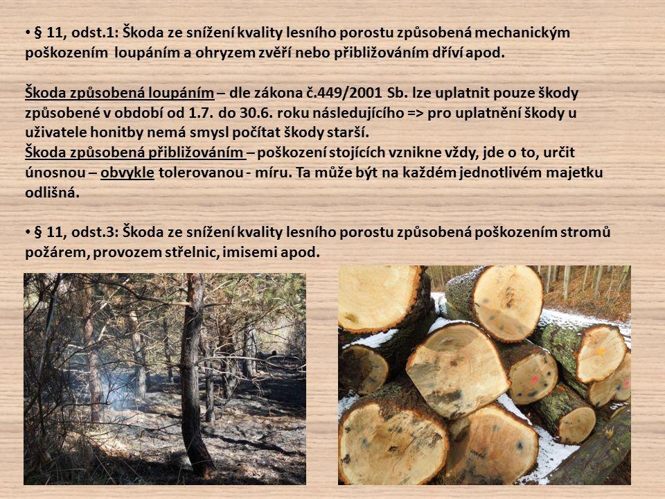 § 11, odst.1: Škoda ze snížení kvality lesního porostu způsobená mechanickým poškozením loupáním a ohryzem zvěří nebo přibližováním dříví apod.