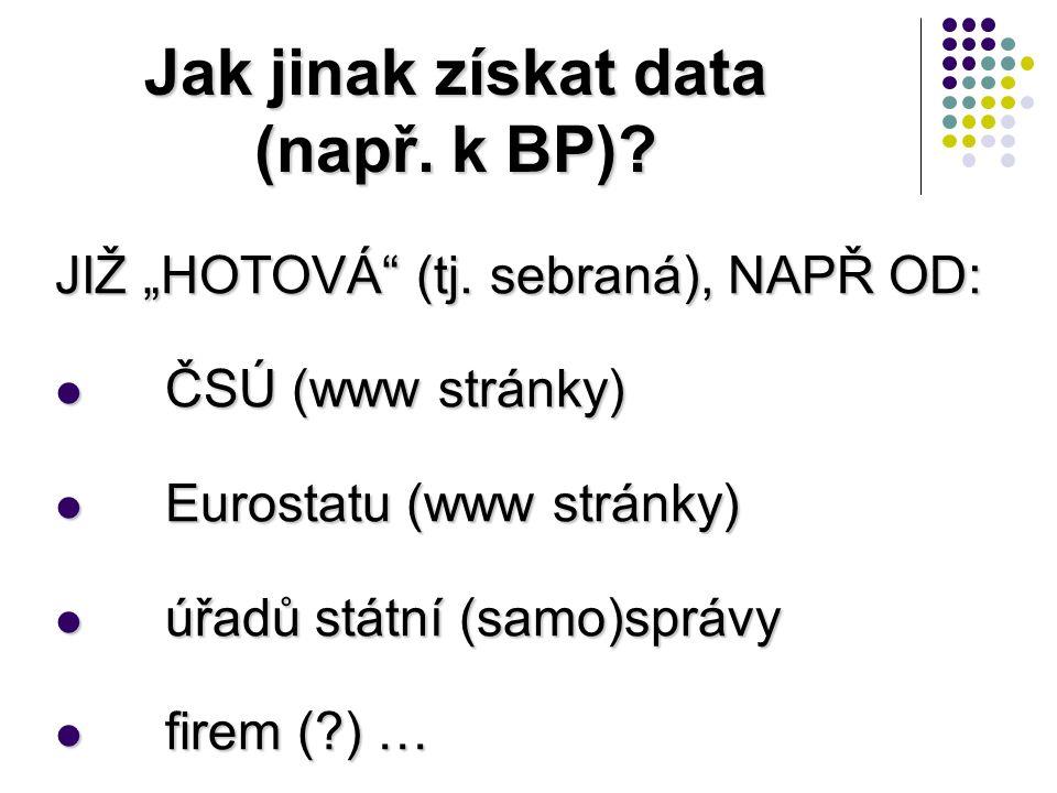 """Jak jinak získat data (např. k BP)? JIŽ """"HOTOVÁ"""" (tj. sebraná), NAPŘ OD: ČSÚ (www stránky) ČSÚ (www stránky) Eurostatu (www stránky) Eurostatu (www st"""