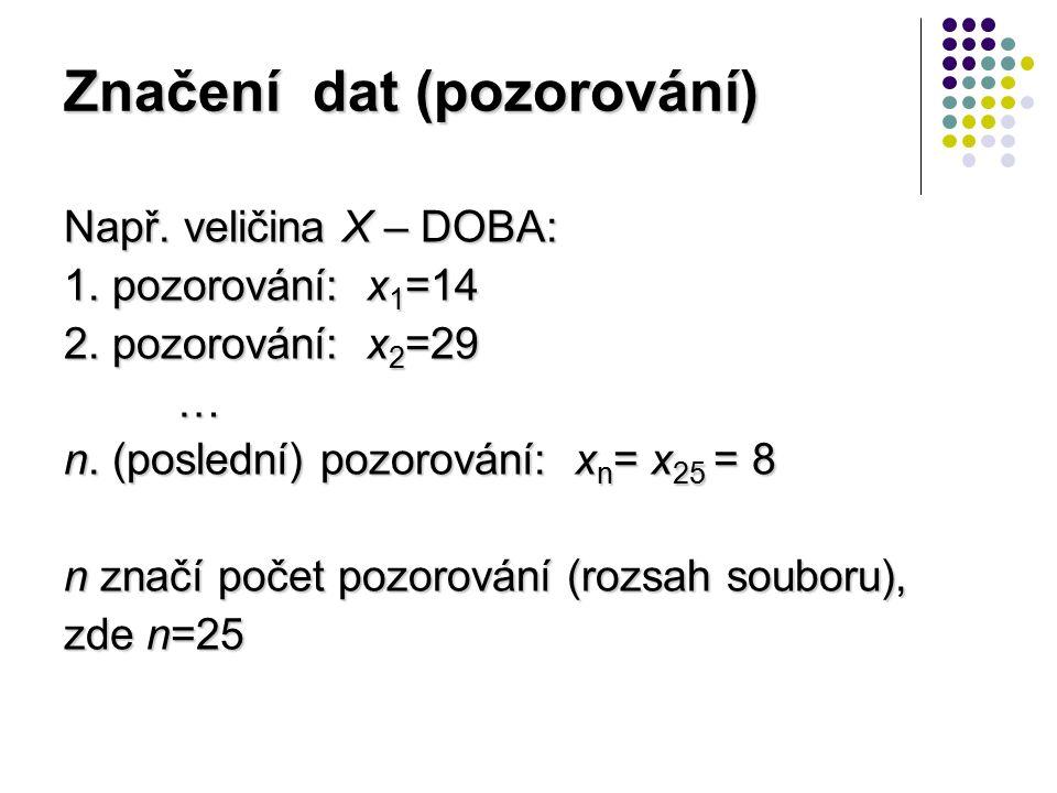 Značení dat (pozorování) Např. veličina X – DOBA: 1. pozorování: x 1 =14 2. pozorování: x 2 =29 … n. (poslední) pozorování: x n = x 25 = 8 n značí poč