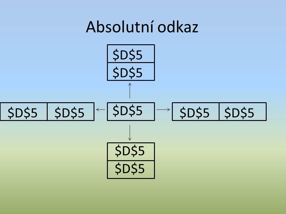 Smíšený odkaz Při kopírování se mění buď pouze řádek nebo pouze sloupec (závisí na umístění znaku $) =A$3 (znak $ je před adresou řádku, řádek se při kopírování nemění) =$A3 (znak $ je před adresou sloupce, sloupec se při kopírování nemění
