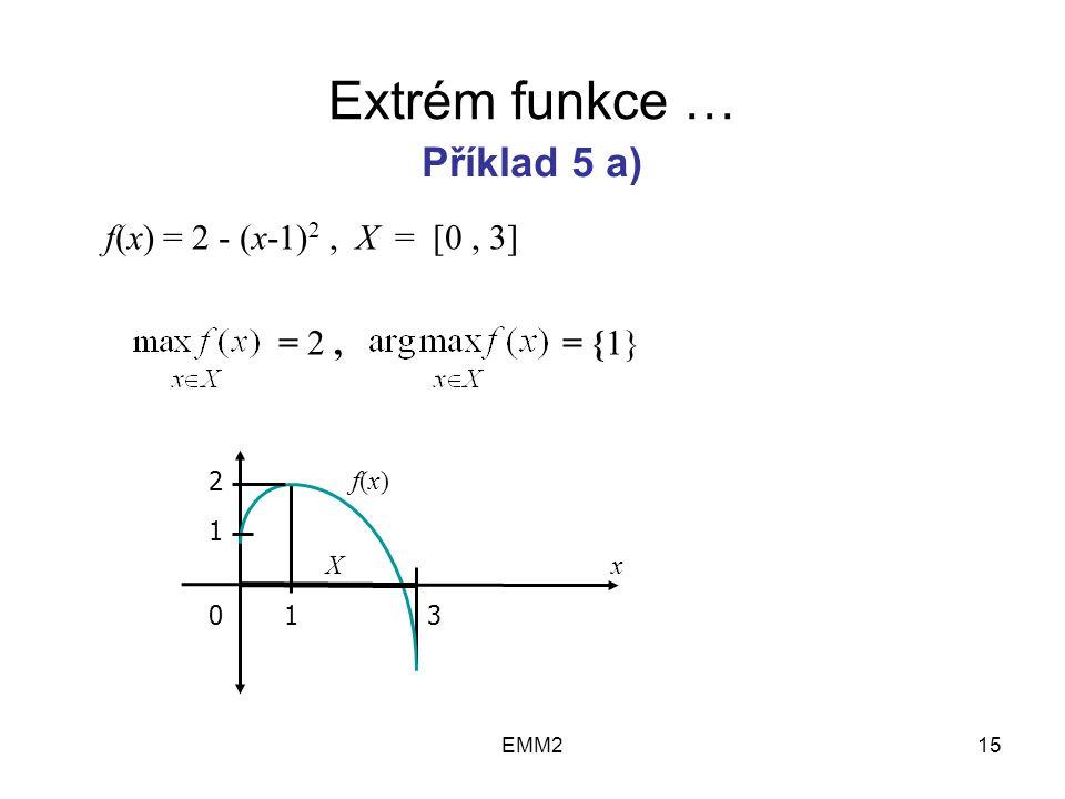 EMM215 Extrém funkce … f(x) = 2 - (x-1) 2, X = [0, 3] = 2, = {1} Příklad 5 a) 2 1 013 X f(x)f(x) x