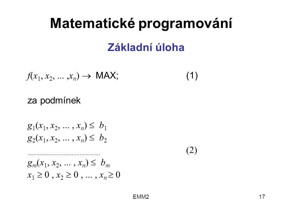 EMM217 Matematické programování Základní úloha f(x 1, x 2,...,x n )  MAX;(1) za podmínek g 1 (x 1, x 2,..., x n )  b 1 g 2 (x 1, x 2,..., x n )  b 2...............................................