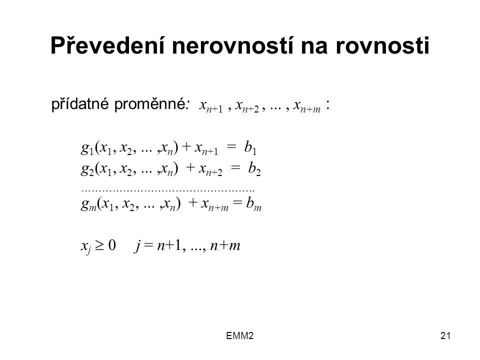 EMM221 Převedení nerovností na rovnosti přídatné proměnné: x n+1, x n+2,..., x n+m : g 1 (x 1, x 2,...,x n ) + x n+1 = b 1 g 2 (x 1, x 2,...,x n ) + x